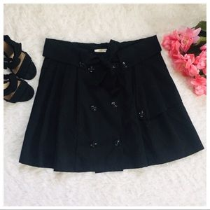 Tini Lini Black Suede Belted Button Up Front Skirt